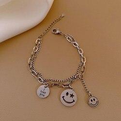 Korean Japanese Titanium Steel Double Layered Smile Charm Bracelets for Women Silver Color Alloy Chain Bracelet Punk Jewelry