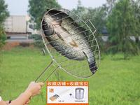 Stainless steel grilled fish clip large coarse grilled fish net roast chicken home grill rack round BBQ tool outdoor barbecue
