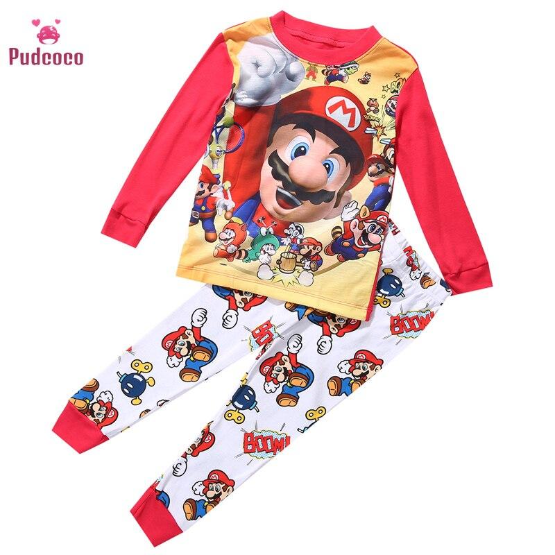 Pudcoco Brand Baby Boys Toddler 2PCS Set Super Mario Bebe Girls Sleepwear Nightwear Pajamas Set 1-7Y Kids Pajamas Free Shipping