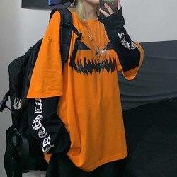 NiceMix Harajuku/футболка с принтом тыквы и буквами; Поддельные 2 штуки; Лоскутная Повседневная футболка с длинными рукавами; женская и Мужская Улич...