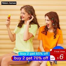 Metersbonwe новая хлопковая Эстетическая Футболка Harajuku, однотонные Топы И Футболки с короткими рукавами, модная Повседневная Базовая футболка для пар