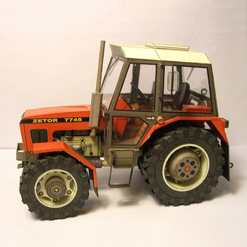 Czech/English Zetor 7745-7211 1:32 Tractor Folding Cutting Mini 3D Paper Model Papercraft DIY Adult Handmade Craft Toys ZX-021 image