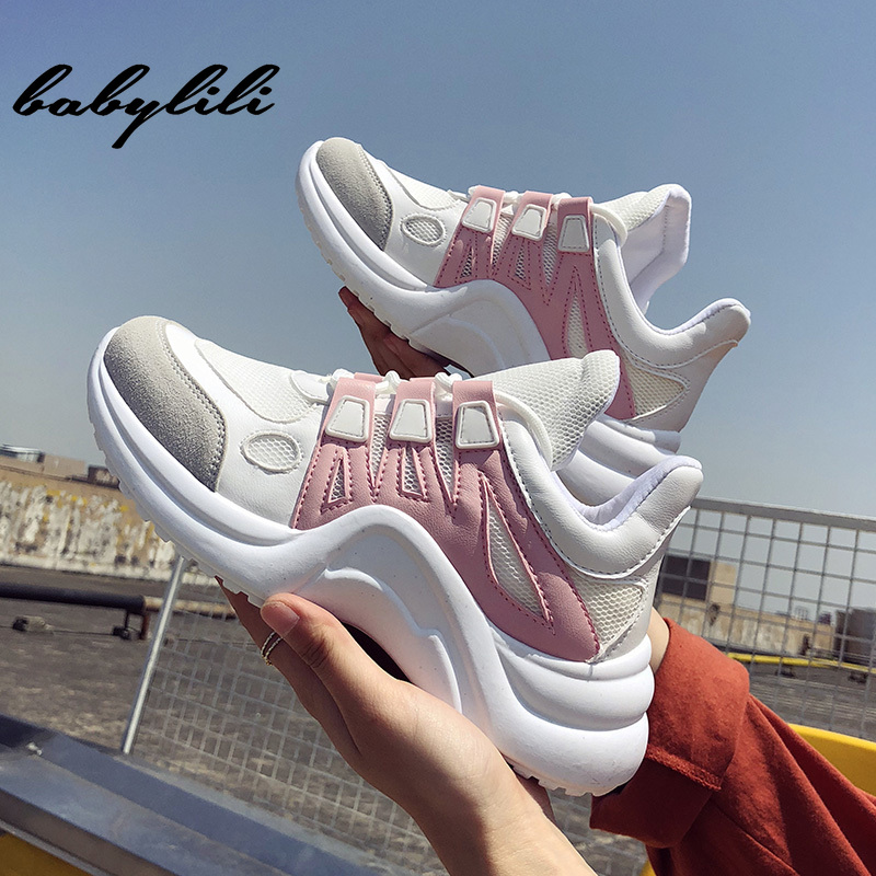 Babylili Fashion Platform Sneakers Breathable Mesh Chunky Sneaker For Women Casual Shoes Woman Vulcanize Shoe Lace -up Adult