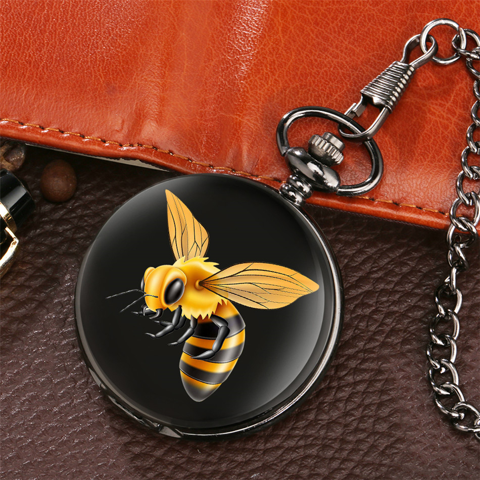 Bee Printing Retro Black Quartz Pocket Watch Fob Chain Pocket Clock Gifts For Men Women