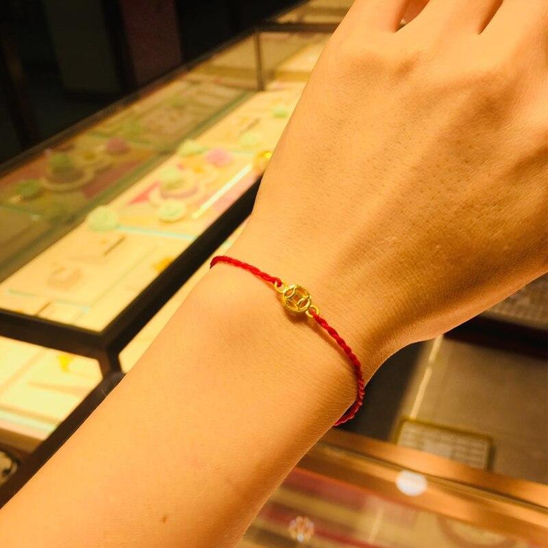 Nouveau Bracelet en or jaune 24K pièce de monnaie 3D