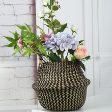 Foldable Wicker Rattan Storage Baskets Garden Flower Pot Grass Woven Environmental Home Laundry Basket