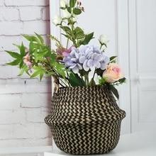 Foldable Wicker Rattan Storage Baskets Garden Flower Pot Grass Woven Environmental Home Laundry Basket