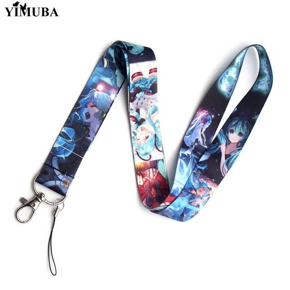 YIMUBA Neue Hatsune Miku Lanyards Schlüssel Kette Anime Handy Neck Straps DIY Hängen Seil Keychain USB ID Karte Pass gym Abzeichen Halter