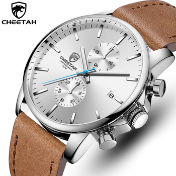 CHEETAH New Men's Watches Top Luxury Brand Sport Quartz Watch Men Chronograph Waterproof Wristwatch Leather Date reloj hombre