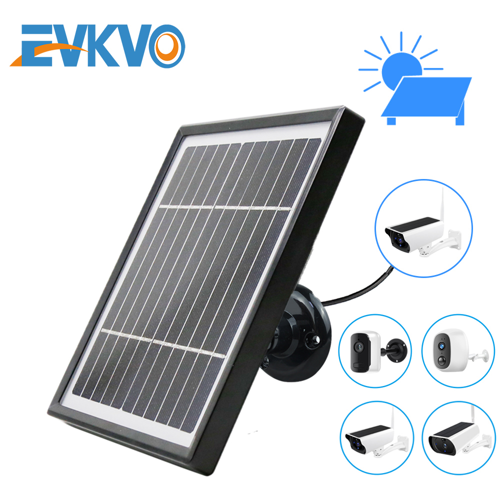 EVKVO Solar Panel 3 3W 5 5V 3 Meter Cable For Outdoor Security Rechargeable Battery Powered IP WiFi Camera