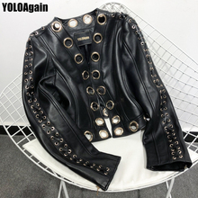 Jacket Real-Leather Women Black Yoloagain Short Hollow-Out High-Street Ladies