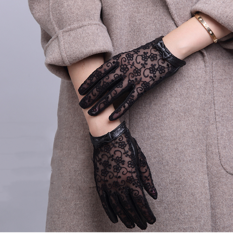 Women's Sexy Black Lace Patchwork Genuine Leather Gloves Female Natural Leather Touch Screen Motorcycle Driving Glove