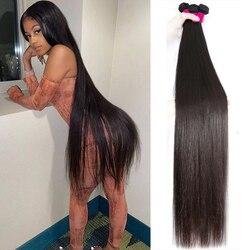 Paquets droits os cheveux raides 30 pouces longs cheveux humains naturels brésiliens 1 3 4 paquets pour les femmes noires paquets de cheveux vierges
