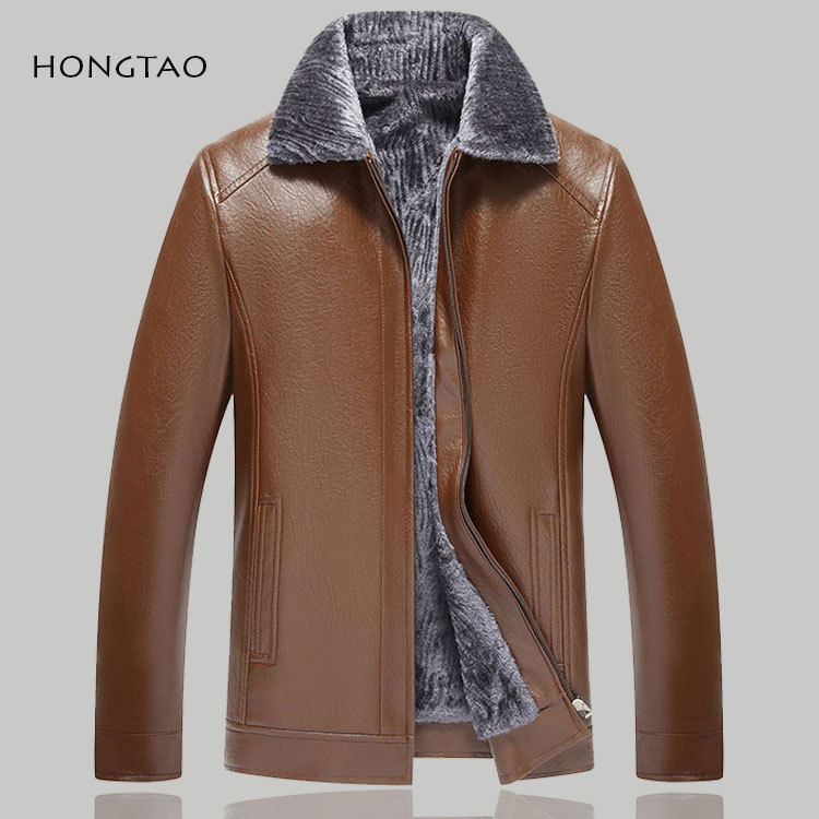 New Style Middle-aged Fold-down Collar Leather Coat MEN'S Leather Coat Coat Daddy Clothes Fur PU Leather Jacket