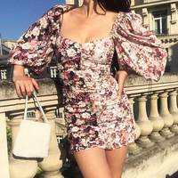 Boho Inspired Women's Pink Floral Ruched Mini Party Dress 3/4 balloon sleeves sexy dress women 2019 vintage dress female new