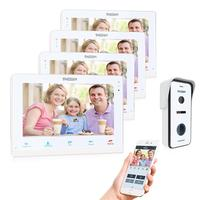 TMEZON Wireless Wifi Smart IP Video Doorbell Intercom System ,10 Inch+3x7 Inch Screen Monitor with 720P Wired Door Phone Camera