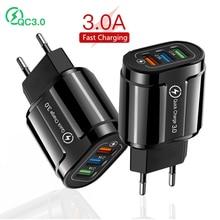 Carregador rápido usb 3.0 adaptador, carregador de celular para iphone 11 pro ue/eua plug qc3.0 para samsung s9 xiaomi