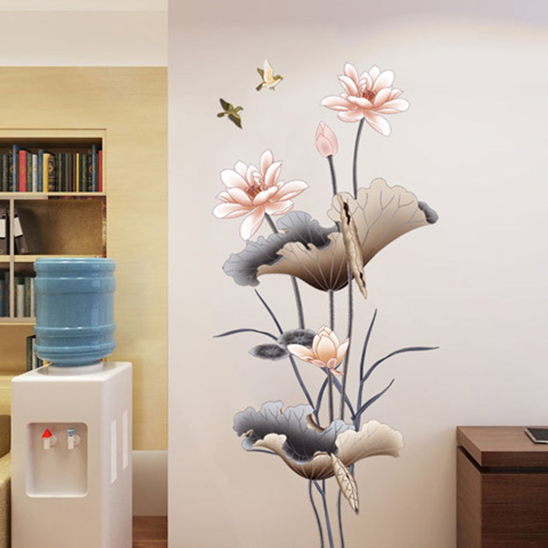 Country Style Lotus Wall Bedroom Living Room Study Room Wall Sticker Decorative Artistic Flower Easy To Install And Remove image
