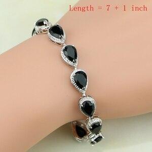 Image 2 - Square 925 Silver Jewelry Black Zircon White CZ Jewelry Sets For Women Earrings/Pendant/Necklace/Rings/Bracelet