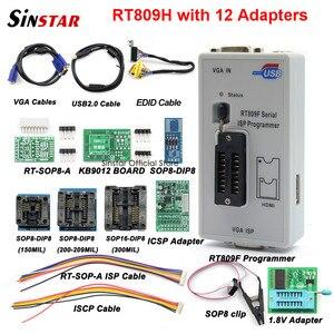 Image 1 - Original RT809F programmer +12 Adapters+sop8 IC clip+CD+1.8V / SOP8 Adapter VGA LCD ISP programmer adapter universal programmer