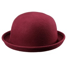 Woolen / Felt Felt Hat On With Edges bell Woman Man Bowler Hats wine red(China)