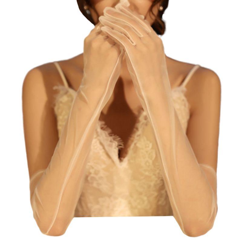 1Pair Women Bridal Full Finger Wedding Veil Gloves Long White Mittens Photo Prop