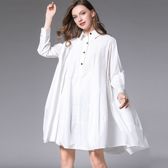 DEAT 2021 New Fashion Casual Oversized  Women's Shirt Dress Loose Wild Button Lapel Collar Full Sleeve Slim Clothes AQ744 5