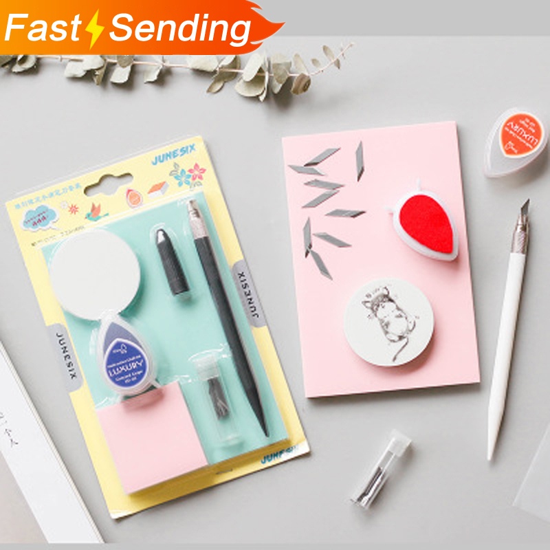 JIANWU 1pc Artistic Creation Set Manual Model DIY Multifunction Rubber Stamp Paper Cutting Tool Scrapbook Stationery Support