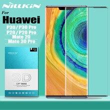 Para huawei mate 30 p30 p20 pro protetor de tela de vidro temperado nillkin 3d cobertura completa proteção de vidro de segurança no companheiro 30 20