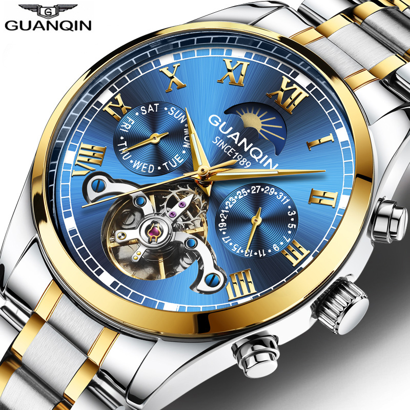 Guanqin 2020 Luminous Watch Male Mechanical Watch Automatic Tourbillon Waterproof Mens Watch Calendar Date Relogio Masculino