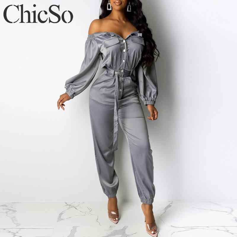 MissyChilli Satin buttons belt elegant jumpsuit Female off shoulder sexy club playsuit overalls Autumn streetwear sport jumpsuit