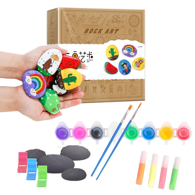 20 Pieces Acrylic Paint Set Rock Painting Craft Kits Art Set For Kids DIY Creative Art Set Fun Googly Eyes Design For Boys Girls