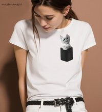 2019 Women Print Middle Finger Pocket Funny Cat T-shirt summer casual tshirt Cotton Couple tees tops clothing white Tops(China)