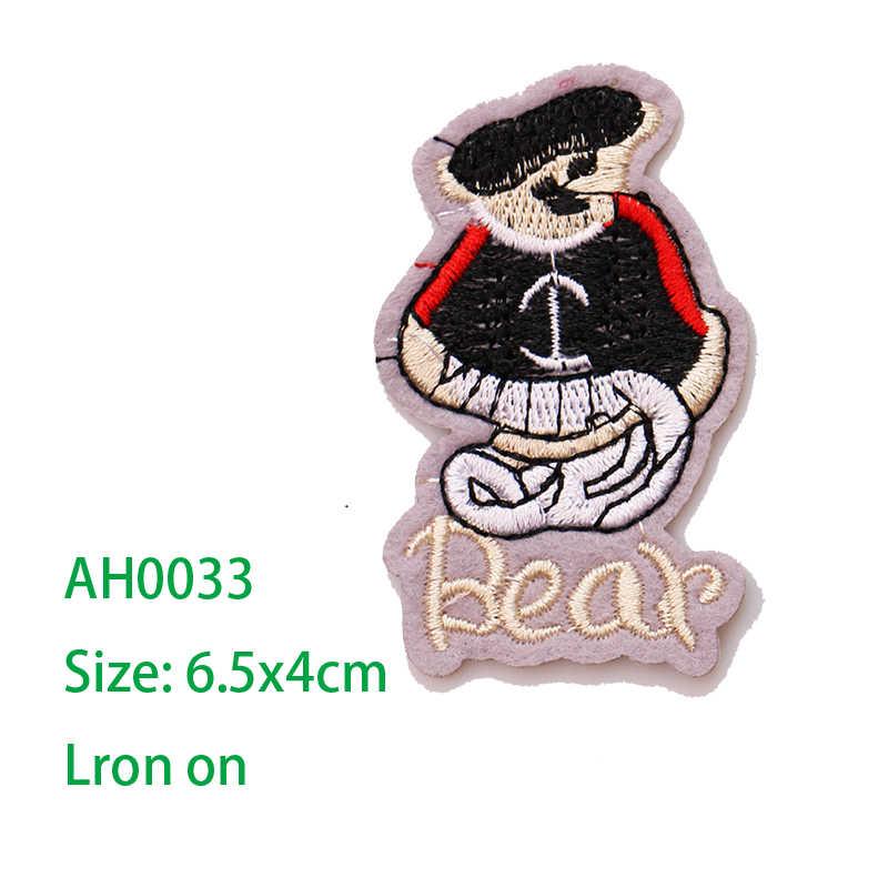 1 قطعة رمز حيوان لطيف المطرزة الحديد على بقع للملابس Stripes بها بنفسك المشارب الملابس خليط ملصقات للأطفال شارة حسب الطلب