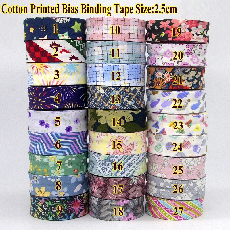 New Cotton Printed Bias Binding Tape Size 25mm 2.5cm 1