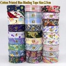 Novo algodão impresso fita de viés emperramento tamanho 25mm 2.5cm 1