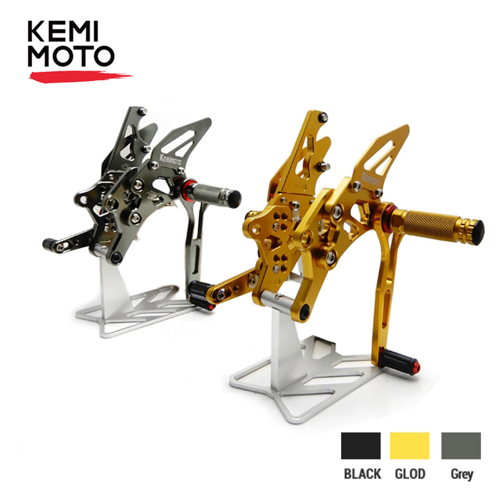 KEMIMOTO Footrest For Yamaha YZF R25 R3 MT-03 MT-25 2014 2015 2016 2017 2018 CNC Adjustable Rearset Rear Set Foot Pegs Foot Rest Mt 03 Mt 25 Mt03 Mt25