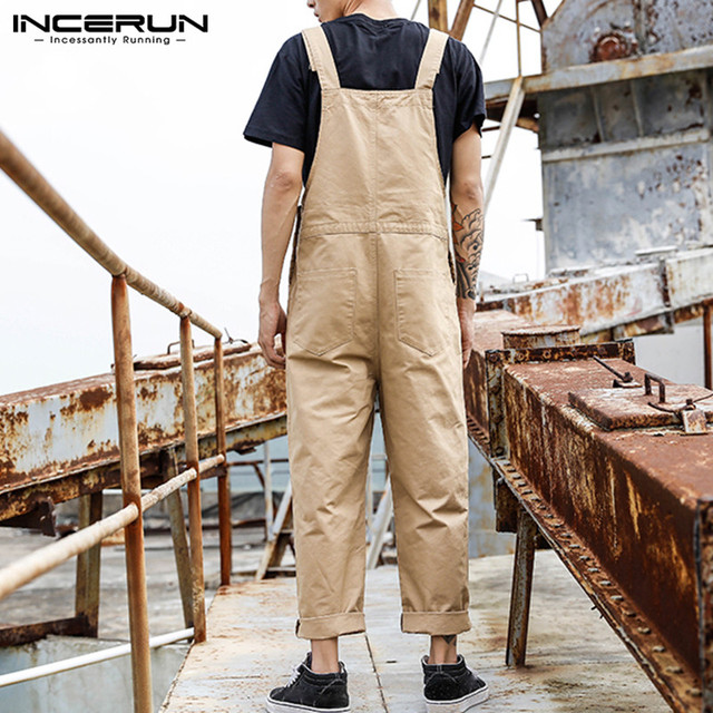 INCERUN Fashion Men Bib Pants Solid Color Jumpsuits Joggers Streetwear Casual Multi Pockets Suspenders Cargo Overalls Men Romper 4