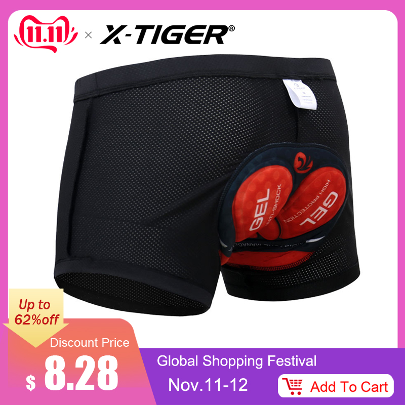X-Tiger Men's Cycling Underwear Bicycle Mountain VTT Shorts Vélo Sport Sous-vêtements Compression Collants Shorts 5D Rembourré
