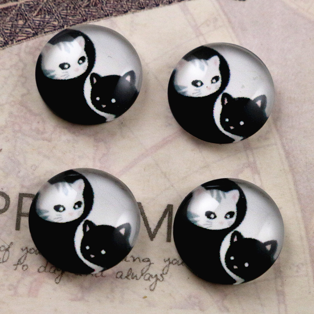 Hot Sale 20pcs 12mm Handmade Cool Style Photo Glass Cabochons  (E6-16)