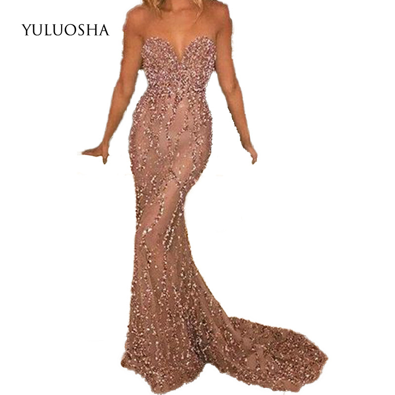 YULUOSHA Long Dresses Evening Sexy Strapless Backless Sleeveless Evening Prom Party Dresses Formal Gown Dresses Robe De Soiree