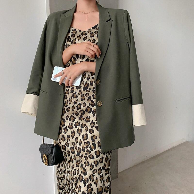 Korean Retro Ladies Blazer Casual Solid Green Loose Simple Suit Jacket Blazer Negro Mujer Stylish Office Women Blazer MM60NXZ