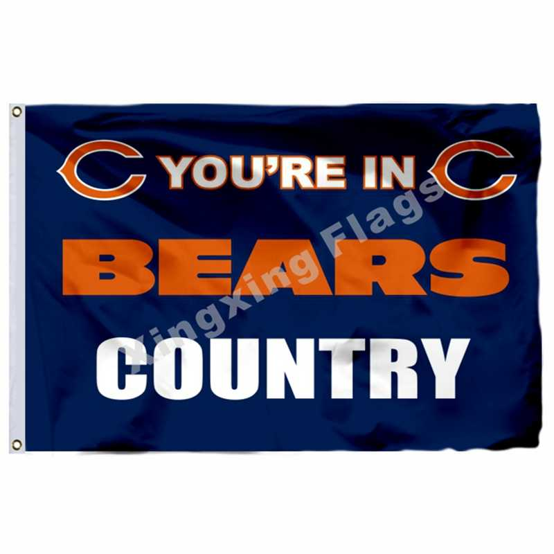 Chicago Bears Sie sind In bears land Flagge 3ft x 5ft Polyester Chicago Bears Banner Fliegen No.4 Größe 4 90X150cm Custo