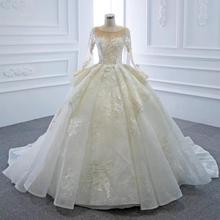DD JYOY Long Sleeve Wedding Dress Luxury Ball Gown Wedding Gown Long Train Ultra Customized Lace Tiered Gown Lace Up Back Bridal