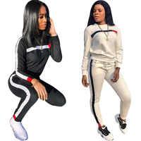Casual conjunto de duas peças agasalho roupas femininas plus size manga longa tops calças moletom calça terno jogging femme conjunto