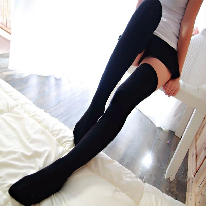 1PC <font><b>Sexy</b></font> Women Thigh Stockings <font><b>Hit</b></font> Color High Over The Knee Socks Long Cotton Knee Stockings medias Stockings image