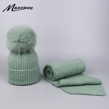 Женский шарф, шапка, набор для вязания, натуральный шарик из меха лисы, шапка с помпонами, осенне-зимняя теплая шапка Skullies Beanies высокого качества