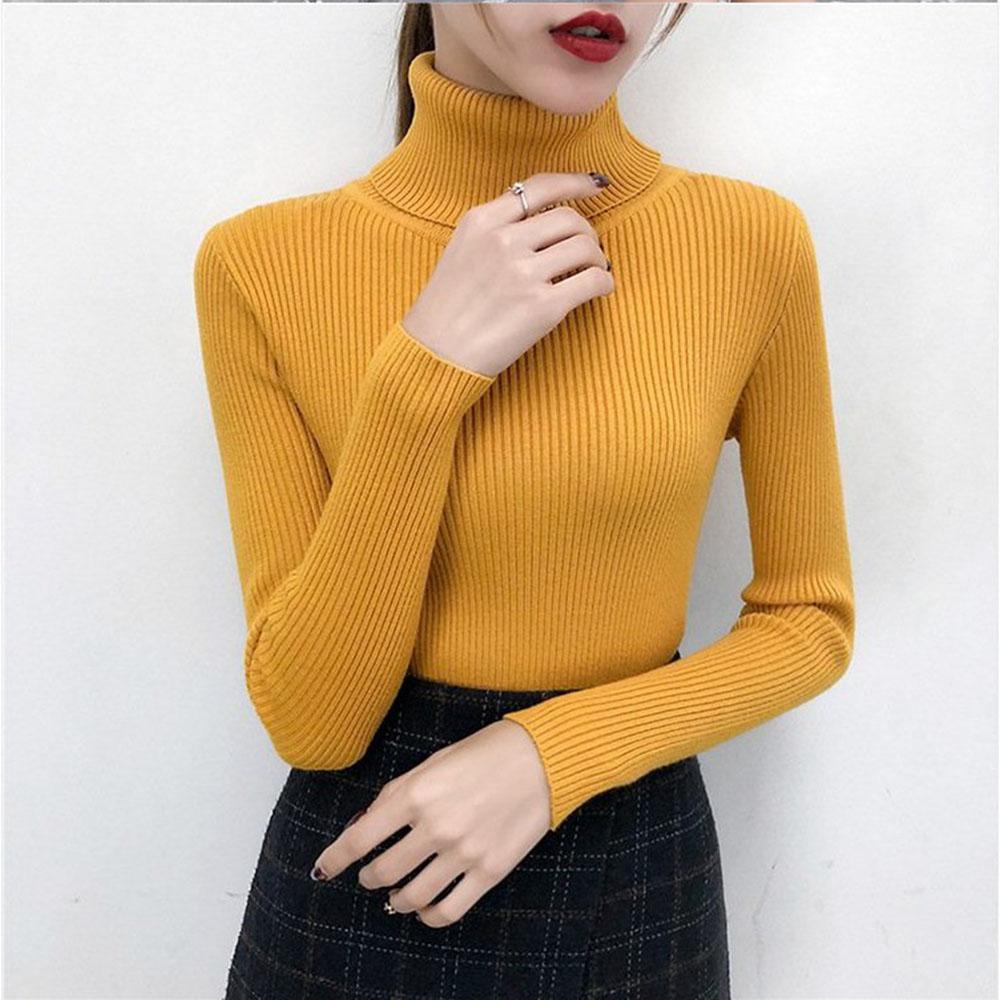 Bonjean Winter Knitted Jumper turtleneck Tops Pullovers Casual Sweaters Women Shirt Long Sleeve Tight Sweater Girls Korean