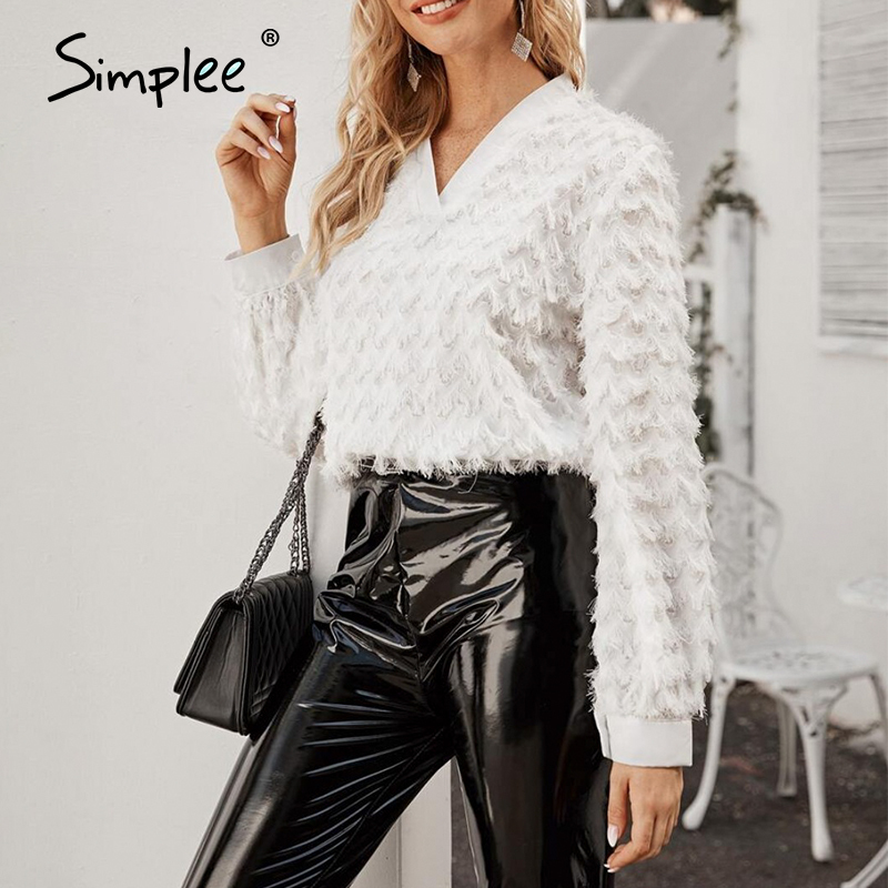 Simplee Fashion White Feather Women Blouse Shirt Long Sleeve V Neck Female Chic Tops Elegant Spring Summer Ladies Blouses 2020