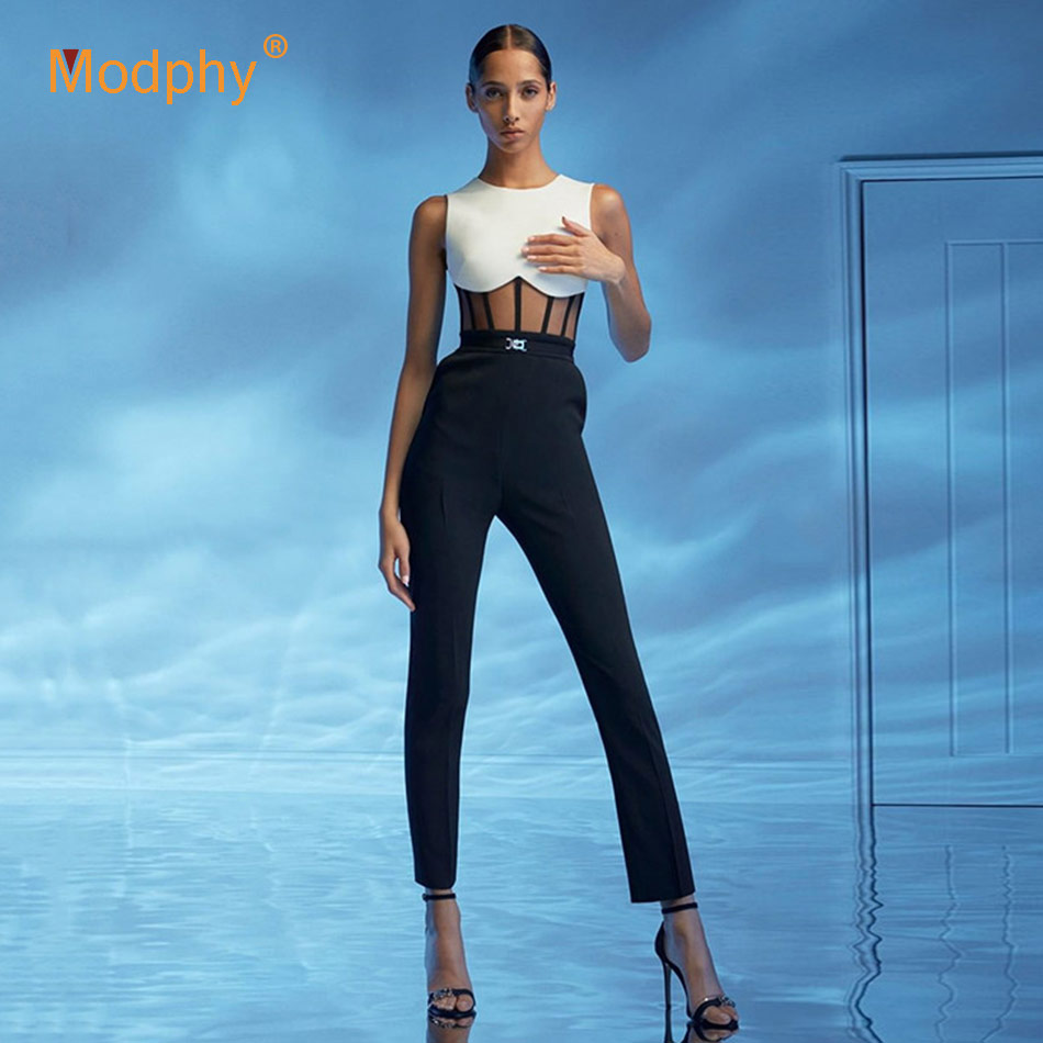 2020 New Summer Black Bandage Jumpsuit Women'S White Sexy Round Neck Mesh Splicing Sleeveless Club Party Tight Elegant Jumpsuit